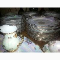 Антикварный коллекционный столовый чайный сервиз ГДР Рошутц Золотая роза