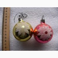 2 ёлочных игрушки - шары, средние 60-е. СССР
