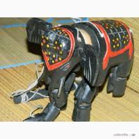 Старинная Деревянная Игрушка Марионетка Слон Индия