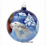 Стеклянный ёлочный шар Дед Мороз ручная роспись. Купить новогодние шары в Киеве