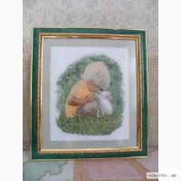 Продам картину вишиту хрестиком малюк і кролик