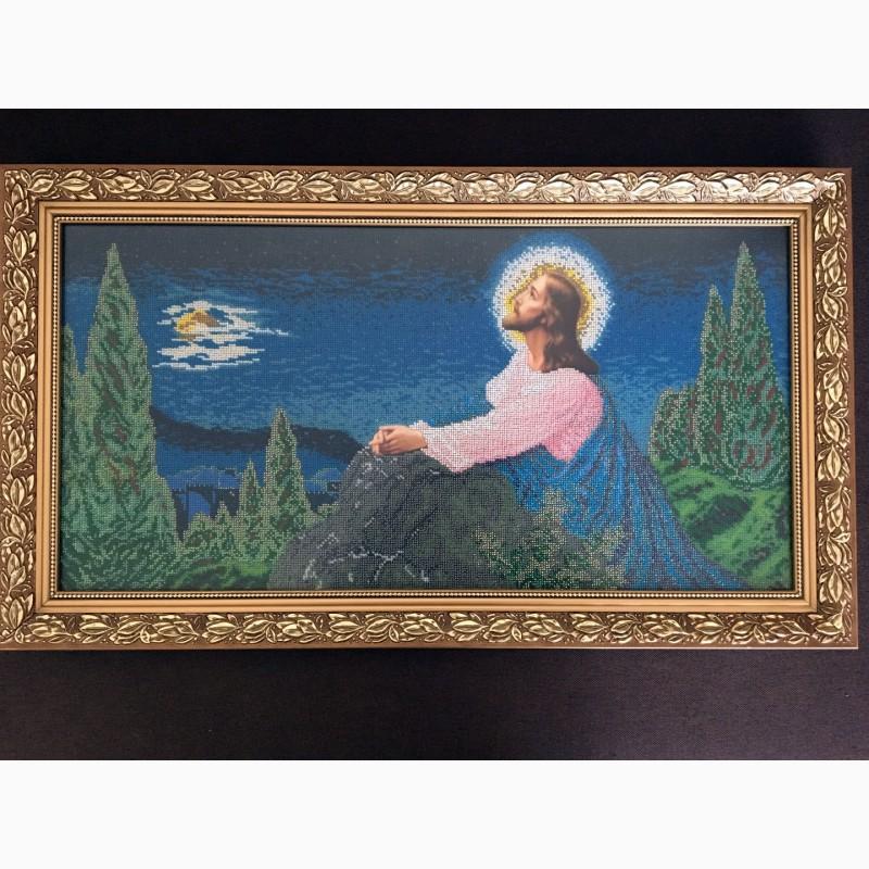 Продам ікону Ісус на оливній горі, вишиту бісером