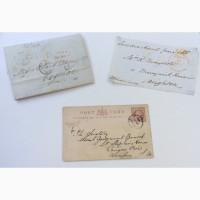 2 почтовых конверта и 1 почтовая открытка 19 век Англия