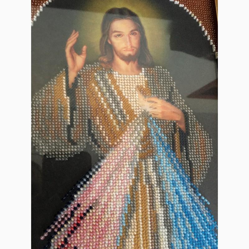 Фото 2. Продам ікону вишиту бісером. Ісус Милосердний