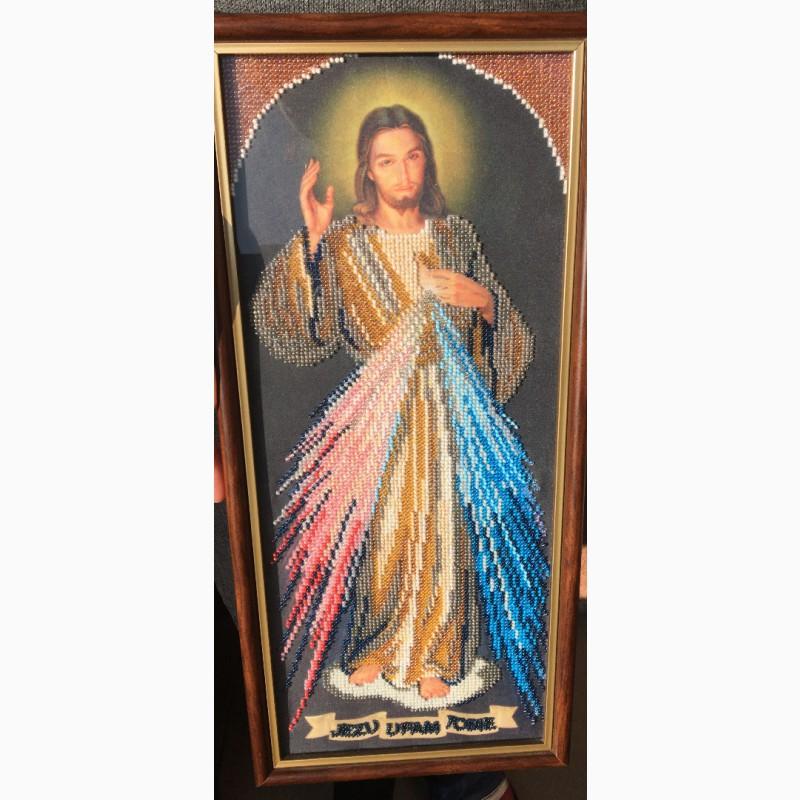 Фото 3. Продам ікону вишиту бісером. Ісус Милосердний