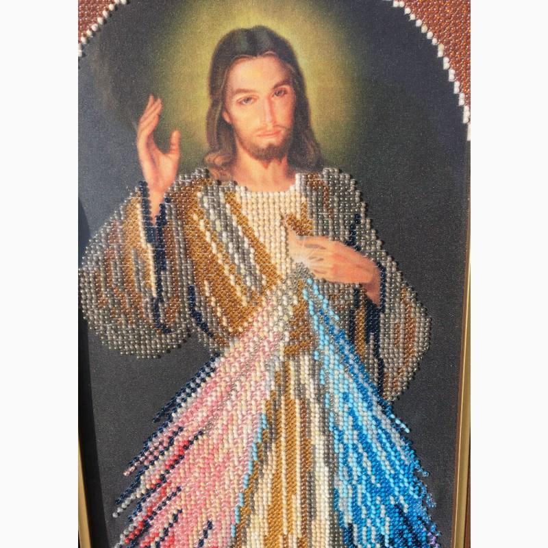 Фото 4. Продам ікону вишиту бісером. Ісус Милосердний