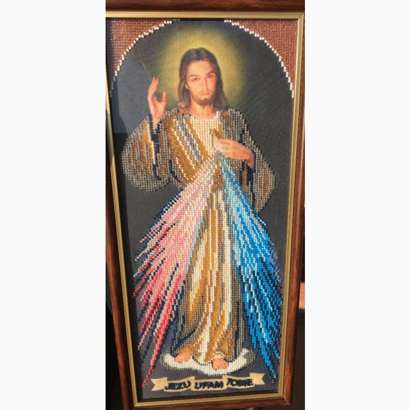 Фото 5. Продам ікону вишиту бісером. Ісус Милосердний