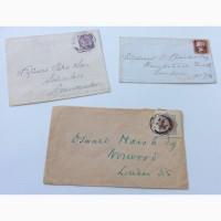 3 почтовых конверта (с красным и сиреневым пенни) 19 век Англия