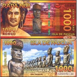 Банкнота 1000 ронго 2011 г Остров Пасхи