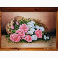 Розы и ромашки картина маслом