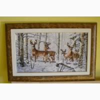 Картина Олені в зимовому лісі вишивка хрестиком / вышивка крестом